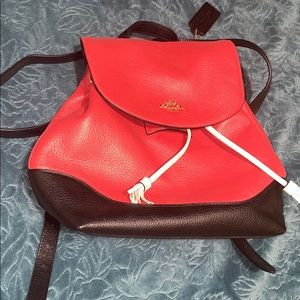backpack 🎒 in red and black original leather